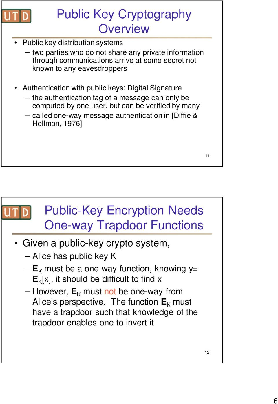 authentication in [Diffie & Hellman, 1976] 11 Public-Key Encryption Needs One-way Trapdoor Functions Given a public-key crypto system, Alice has public key K E K must be a one-way function,
