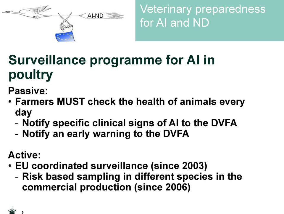 an early warning to the DVFA Active: EU coordinated surveillance (since 2003) -