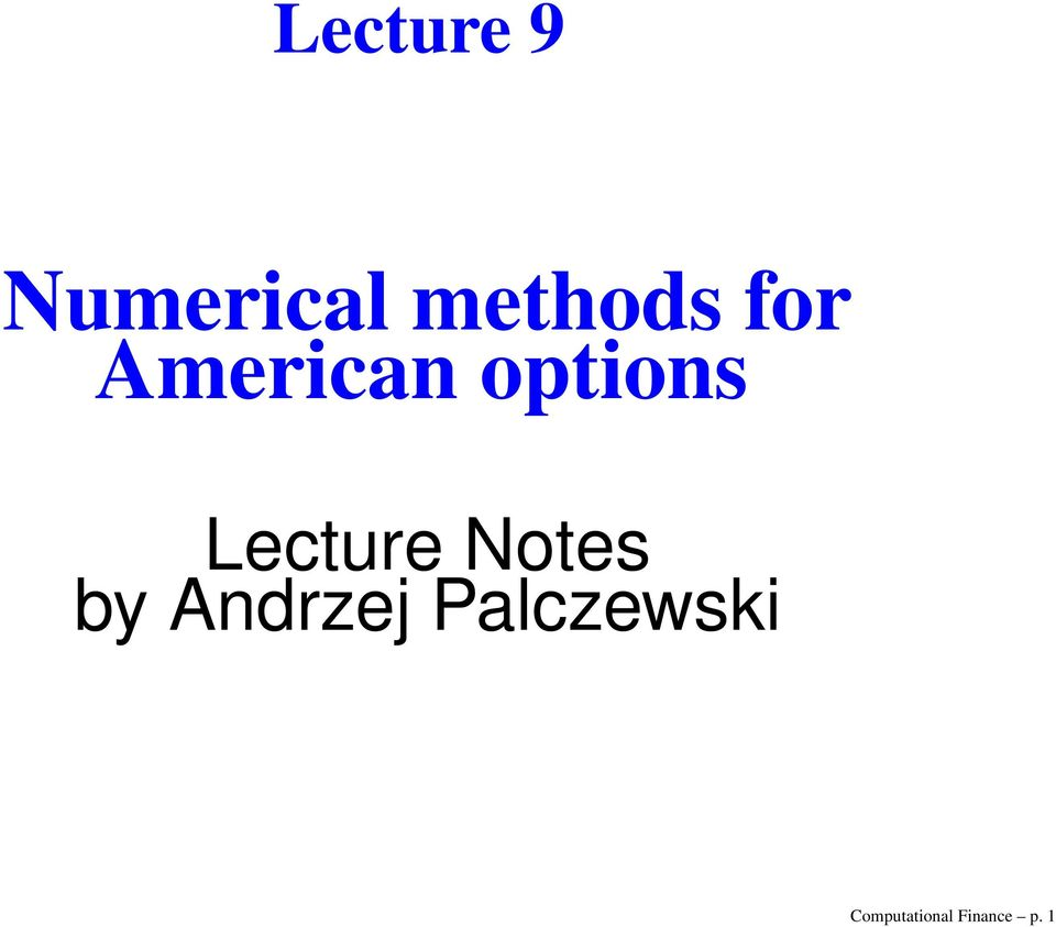 Lecture Notes by Andrzej
