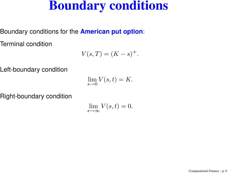 Right-boundary condition V (s, T) = (K s) +.