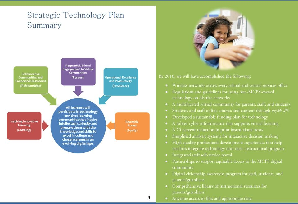 funding plan for technology A robust cyber infrastructure that supports virtual learning A 70 percent reduction in print instructional texts Simplified analytic systems for interactive decision