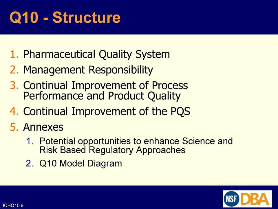 Continual Improvement of Process Performance and Product Quality 4.