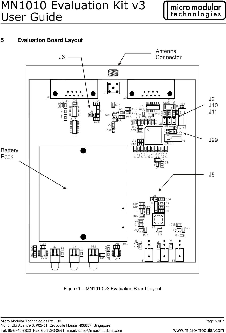 Figure 1 MN1010 v3 Evaluation Board Layout