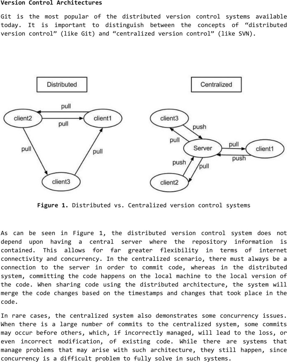 Centralized version control systems As can be seen in Figure 1, the distributed version control system does not depend upon having a central server where the repository information is contained.