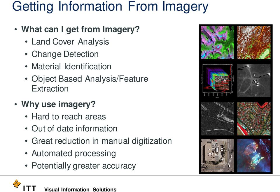 Analysis/Feature Extraction Why use imagery?