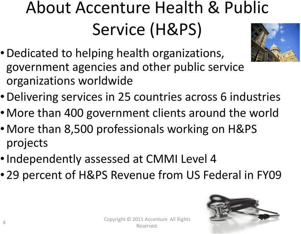 government clients around the world More than 8,500 professionals working on H&PS projects Independently assessed