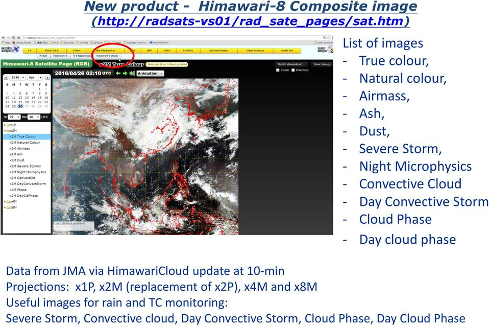 Convective Cloud - Day Convective Storm - Cloud Phase - Day cloud phase Data from JMA via HimawariCloud update at 10-min