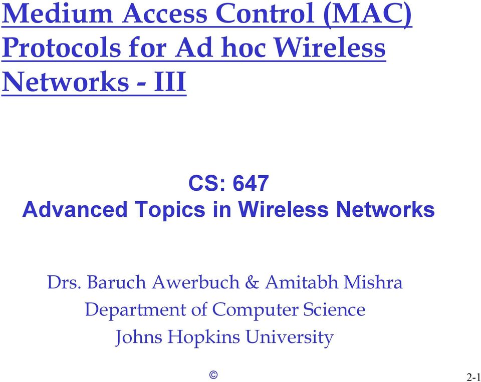 Wireless Networks Drs.