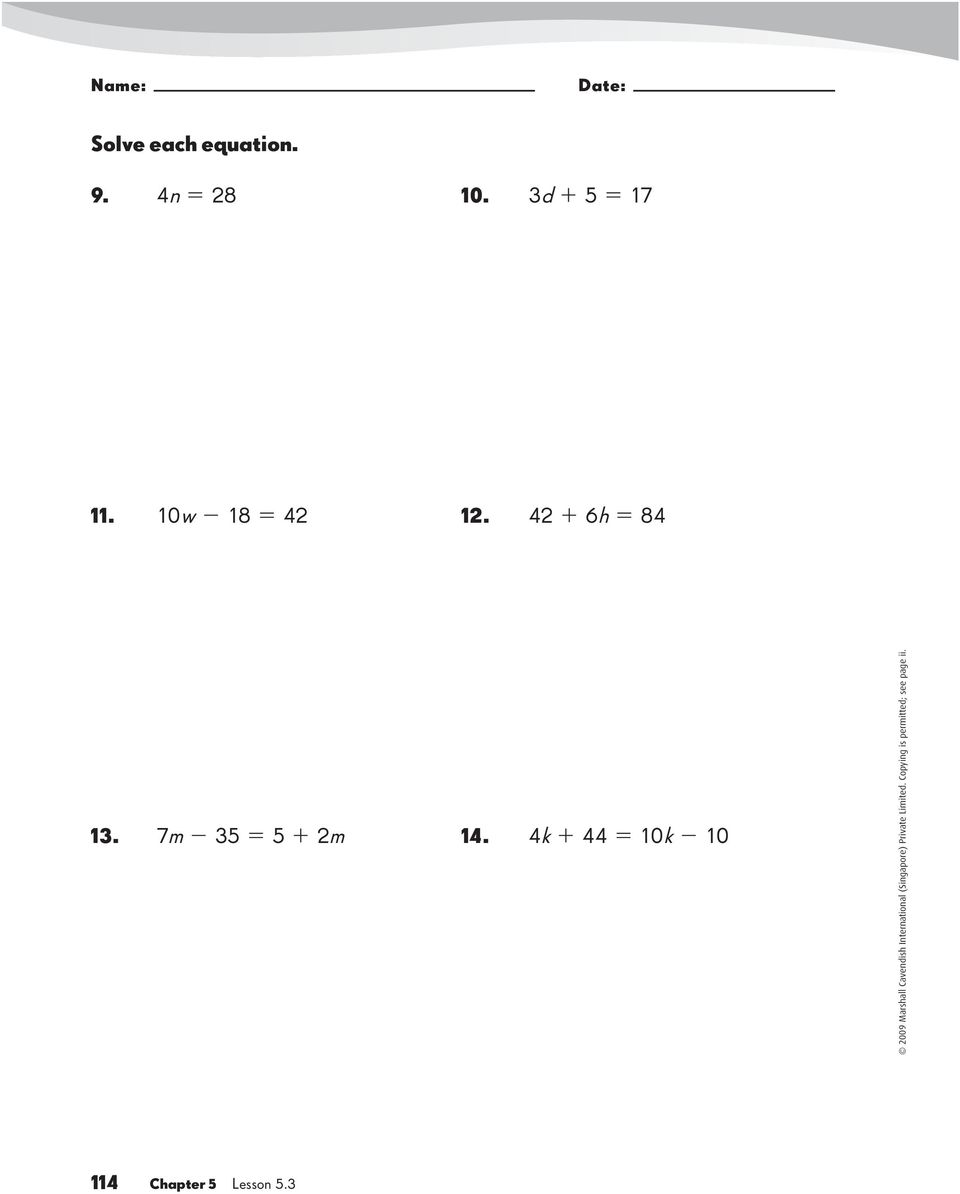 Algebra Lesson 5 1 Using Letters As Numbers Write An