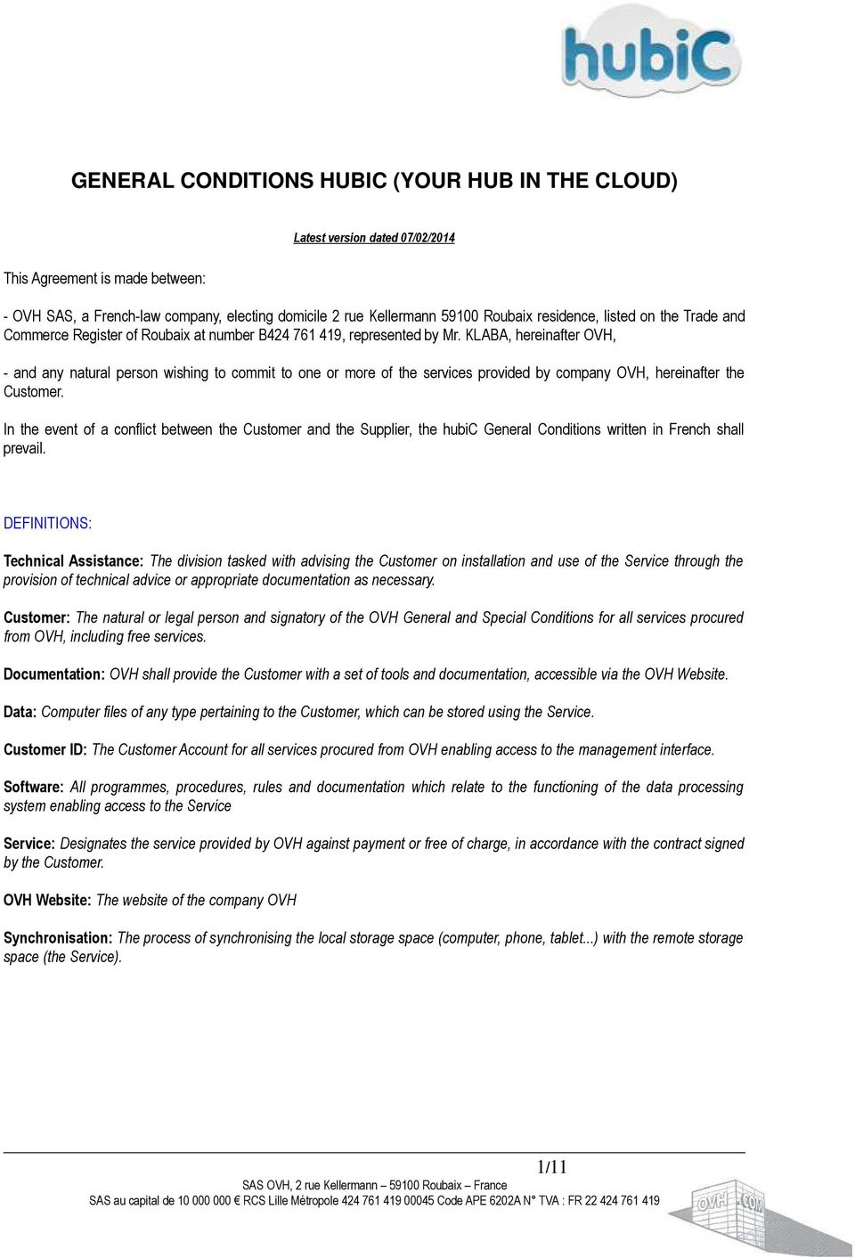 GENERAL CONDITIONS HUBIC (YOUR HUB IN THE CLOUD) - PDF