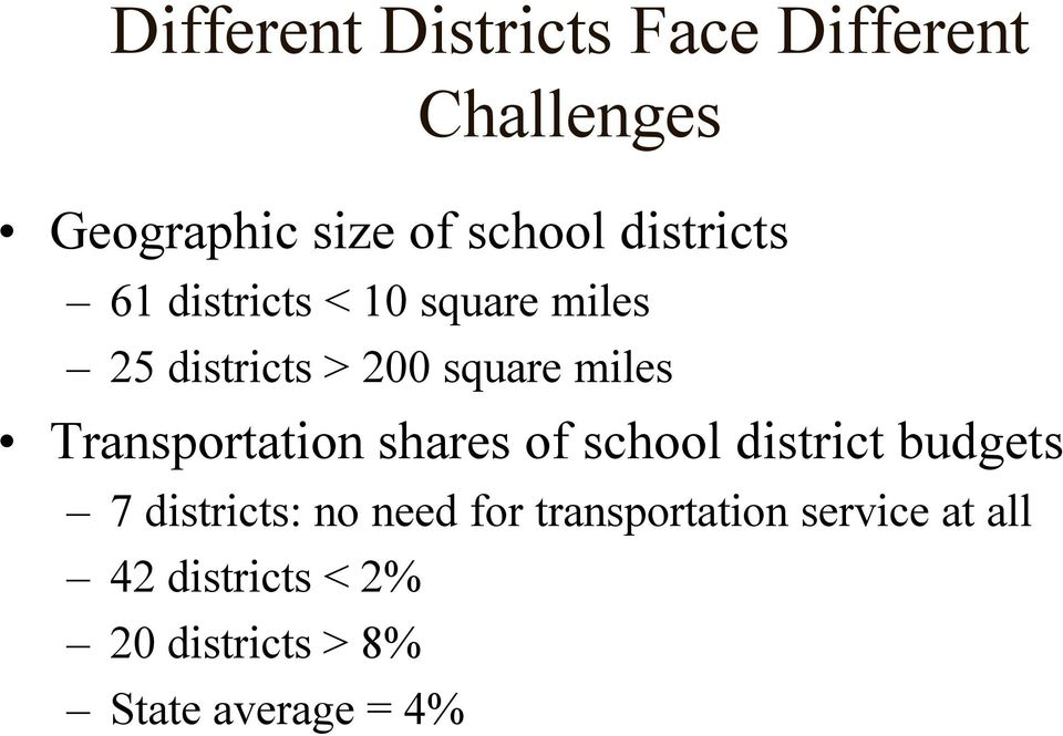 Transportation shares of school district budgets 7 districts: no need for