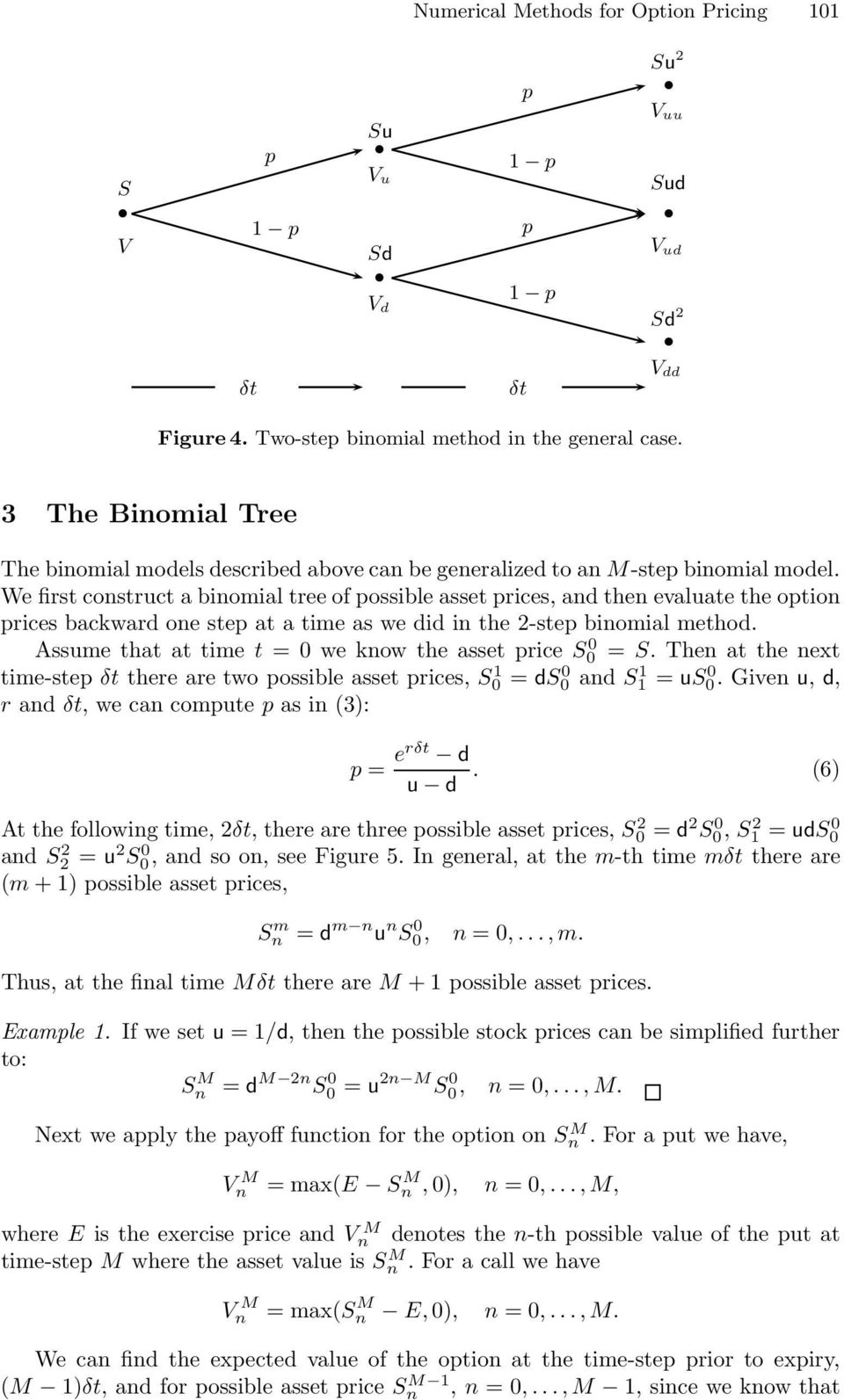 We first construct a binomial tree of possible asset prices, and then evaluate the option prices backward one step at a time as we did in the 2-step binomial method.
