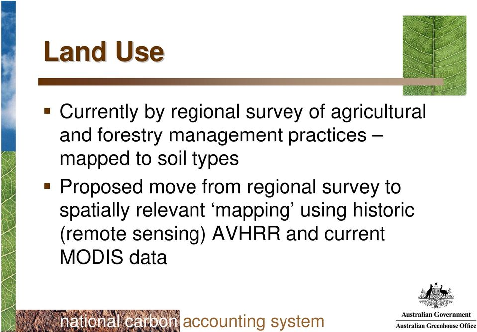 Proposed move from regional survey to spatially relevant