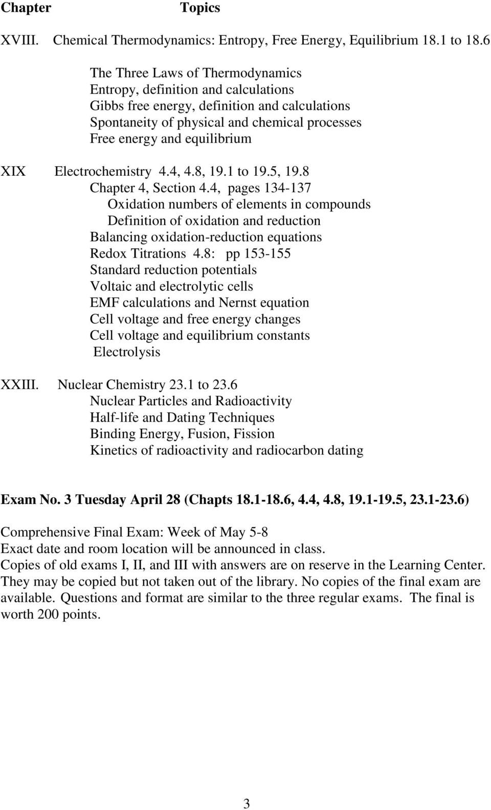 Electrochemistry 4.4, 4.8, 19.1 to 19.5, 19.8 Chapter 4, Section 4.