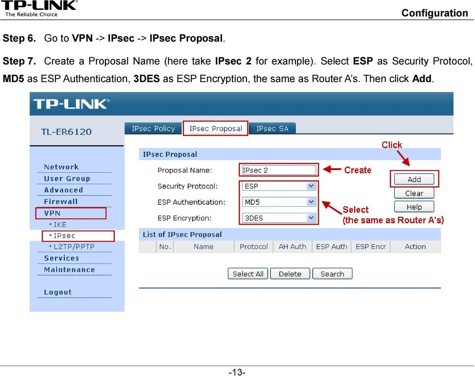 Select ESP as Security Protocol, MD5 as ESP Authentication,