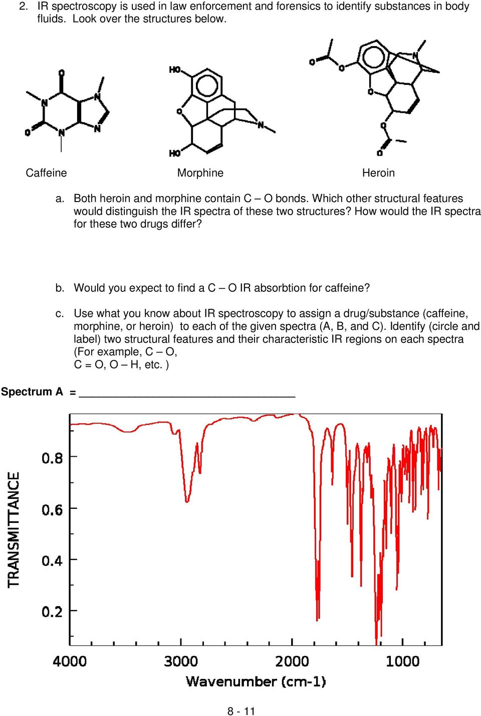 How would the IR spectra for these two drugs differ? b. Would you expect to find a C O IR absorbtion for ca