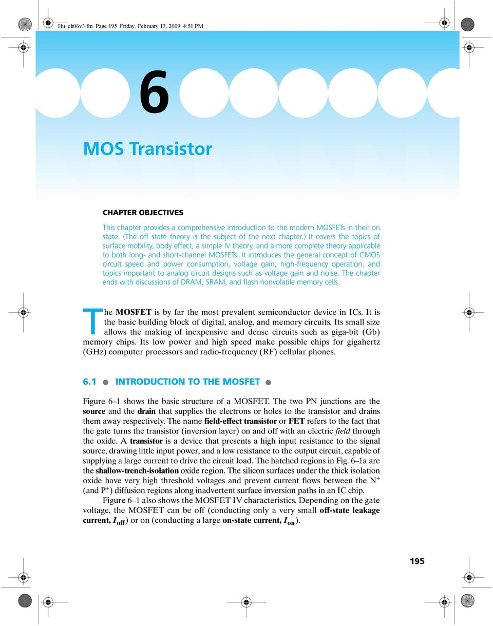 Mos Transistor 61 Introduction To The Mosfet Pdf Basics Circuits It Covers Topics Of Surface Mobility Body Effect A Simple Iv Theory