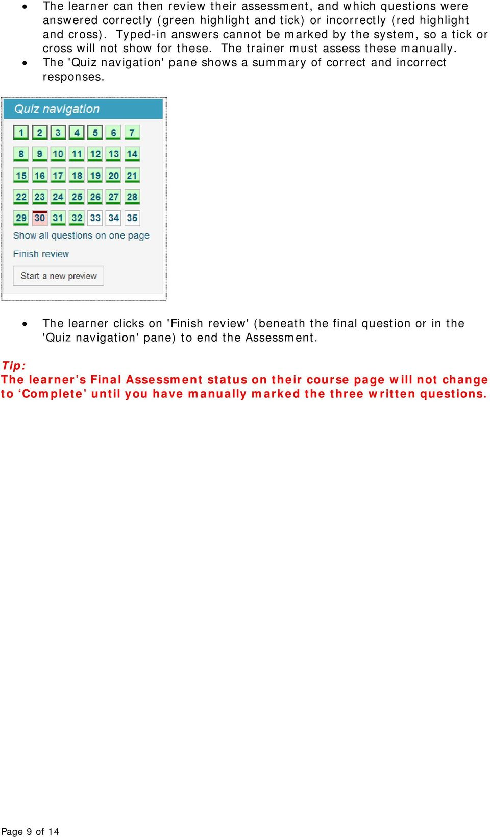 The 'Quiz navigation' pane shows a summary of correct and incorrect responses.