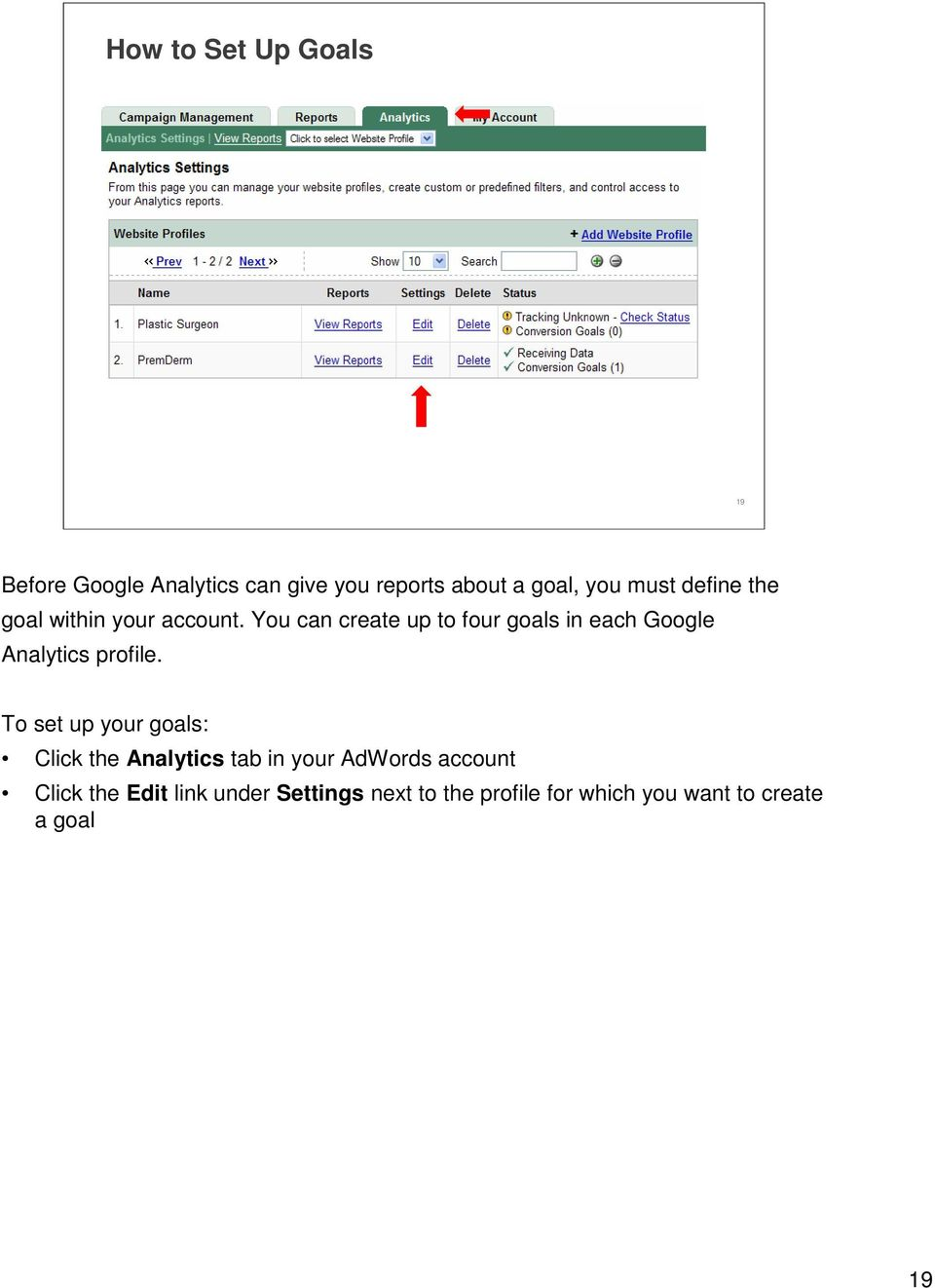 You can create up to four goals in each Google Analytics profile.