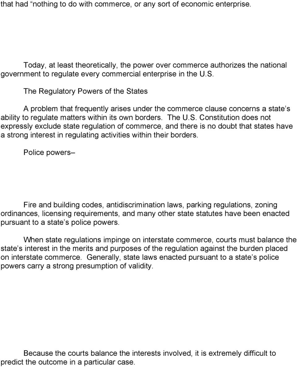 The Regulatory Powers of the St
