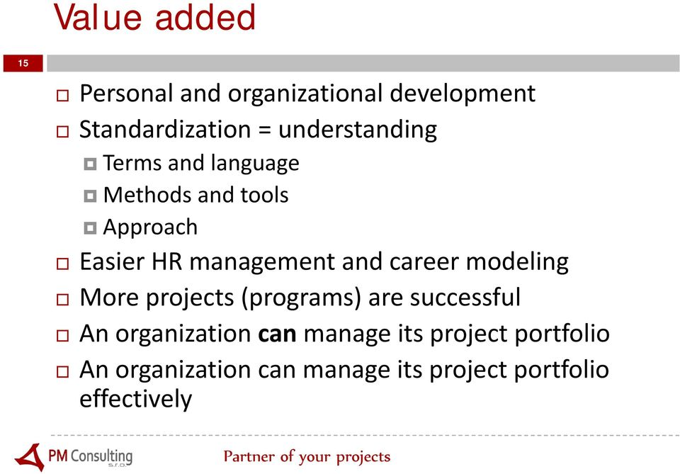 and career modeling More projects (programs) are successful An organization can