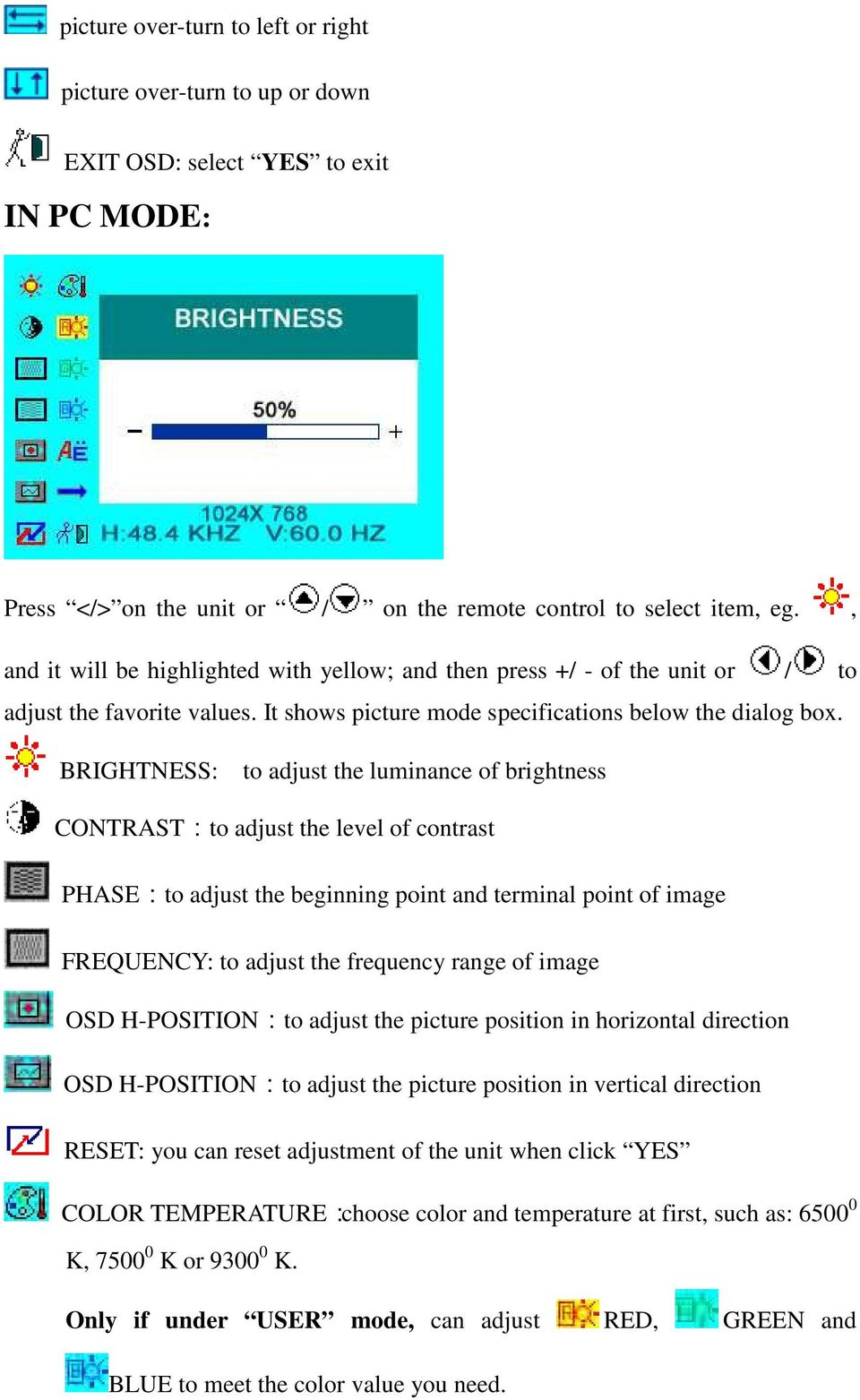 BRIGHTNESS: to adjust the luminance of brightness CONTRAST:to adjust the level of contrast PHASE:to adjust the beginning point and terminal point of image FREQUENCY: to adjust the frequency range of