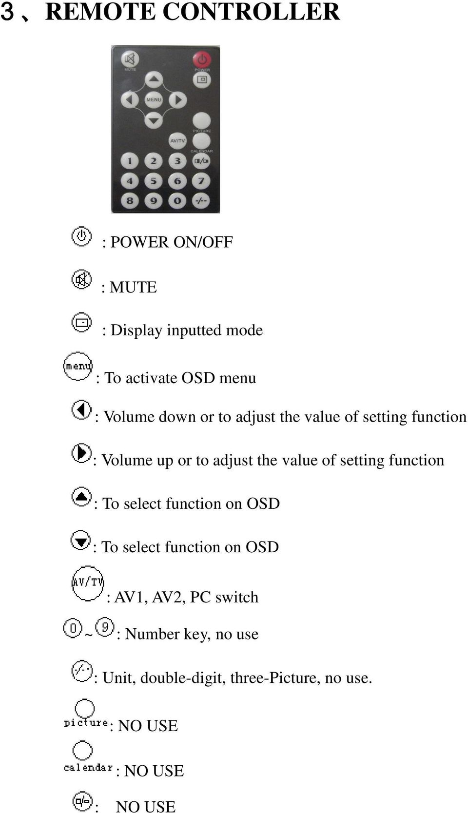 setting function : To select function on OSD : To select function on OSD : AV1, AV2, PC