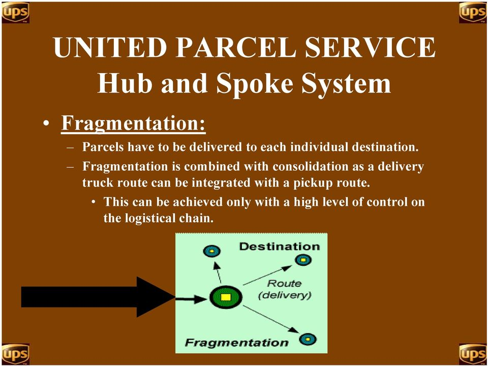 Fragmentation is combined with consolidation as a delivery truck route