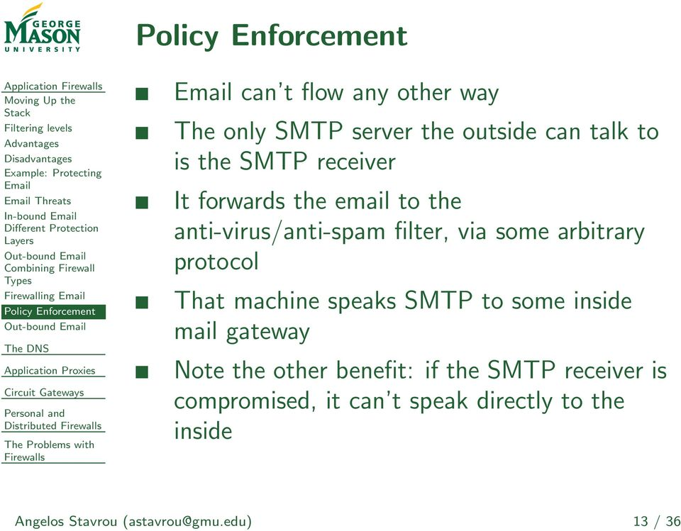 the outside can talk to is the SMTP receiver It forwards the email to the anti-virus/anti-spam filter, via some arbitrary protocol That machine speaks SMTP