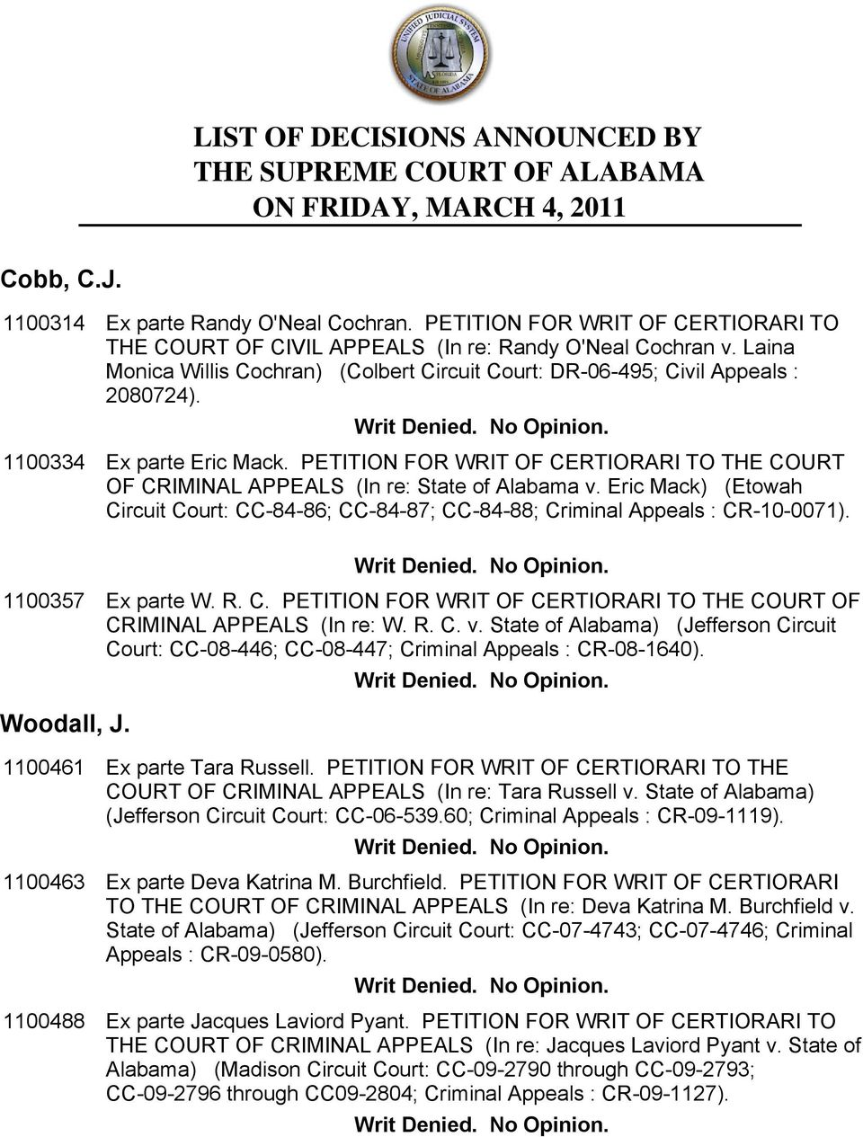 Ex parte Eric Mack. PETITION FOR WRIT OF CERTIORARI TO THE COURT OF CRIMINAL APPEALS (In re: State of Alabama v.