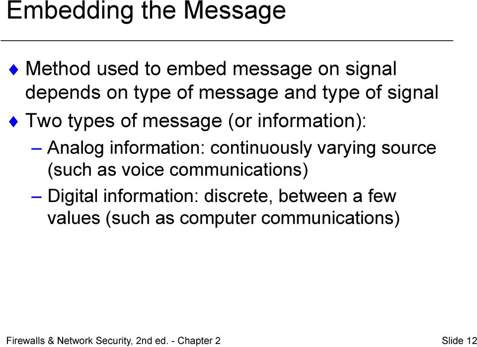 varying source (such as voice communications) Digital information: discrete, between a few