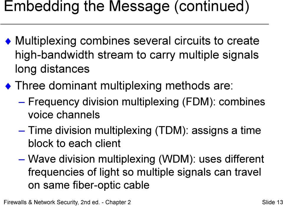 Time division multiplexing (TDM): assigns a time block to each client Wave division multiplexing (WDM): uses different