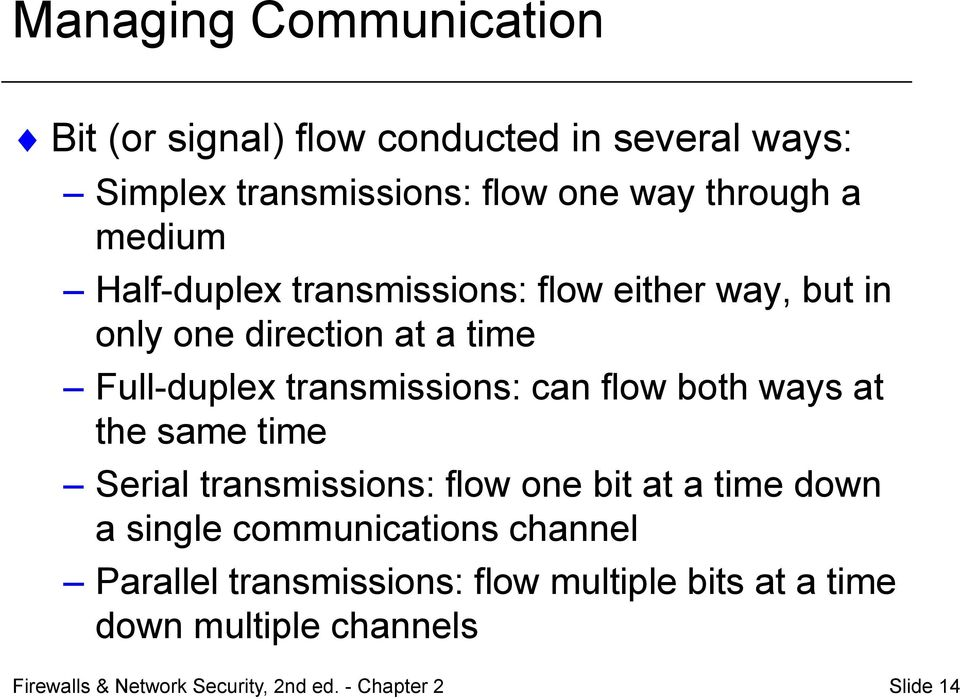 flow both ways at the same time Serial transmissions: flow one bit at a time down a single communications channel