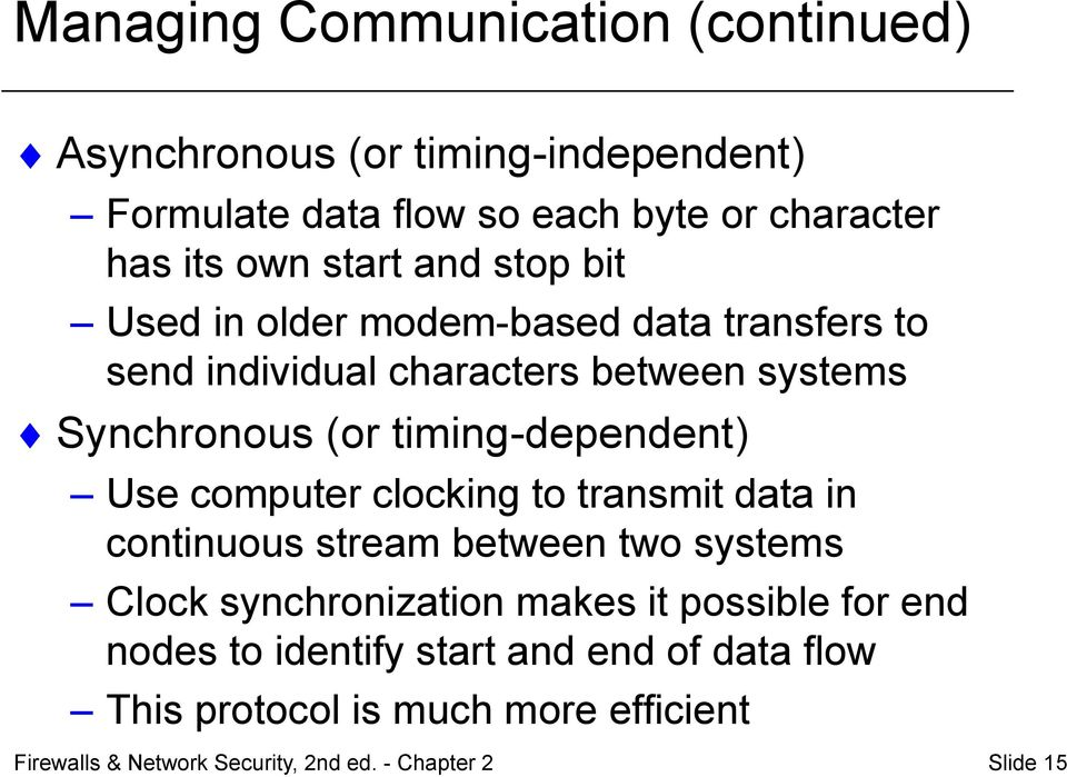 timing-dependent) Use computer clocking to transmit data in continuous stream between two systems Clock synchronization makes it