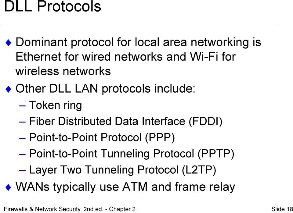Point-to-Point Protocol (PPP) Point-to-Point Tunneling Protocol (PPTP) Layer Two Tunneling Protocol