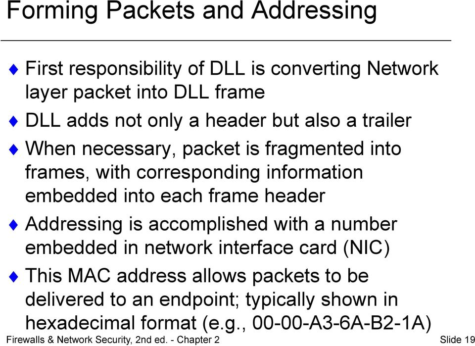header Addressing is accomplished with a number embedded in network interface card (NIC) This MAC address allows packets to be