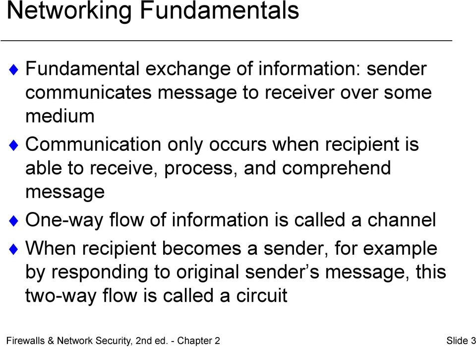 flow of information is called a channel When recipient becomes a sender, for example by responding to original