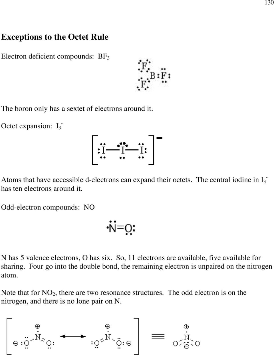 Odd-electron compounds: NO N has 5 valence electrons, O has six. So, 11 electrons are available, five available for sharing.