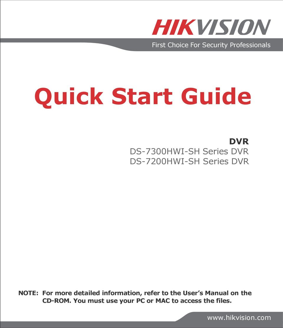 information, refer to the User s Manual on the CD-ROM.