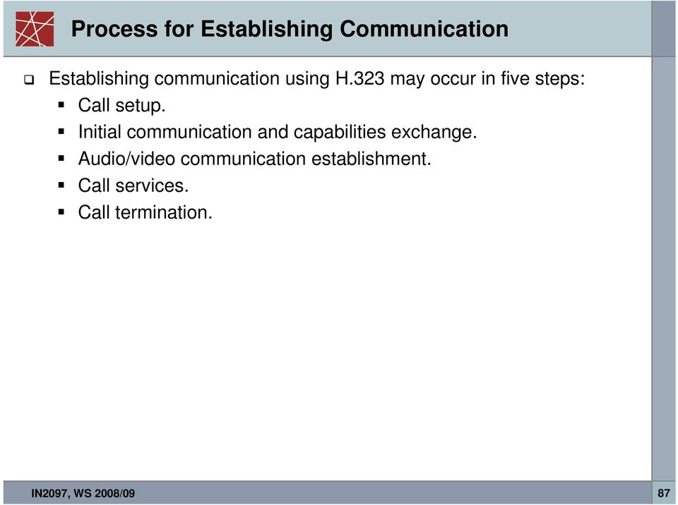 Initial communication and capabilities exchange.