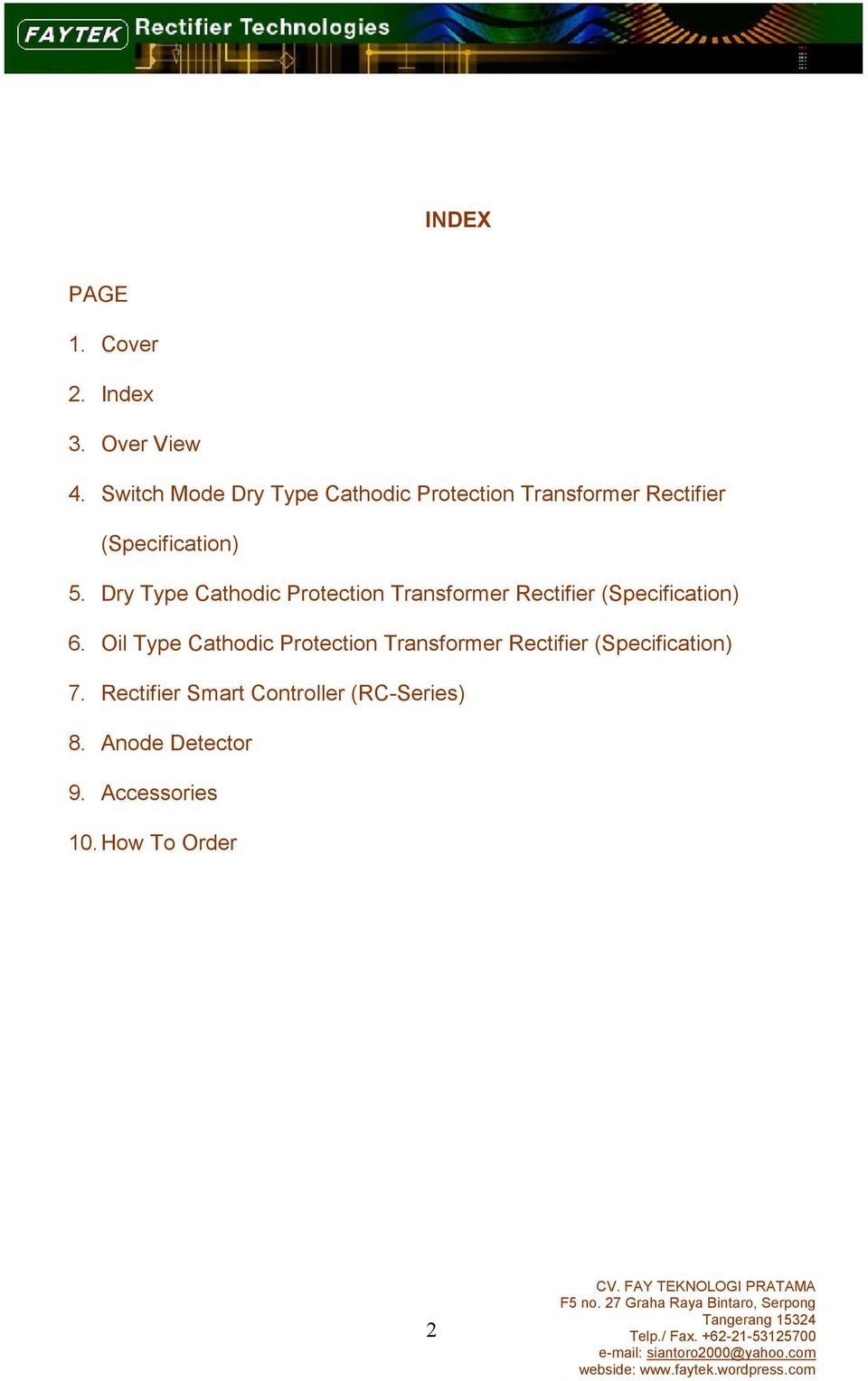 Dry Type Cathodic Protection Transformer Rectifier (Specification) 6.