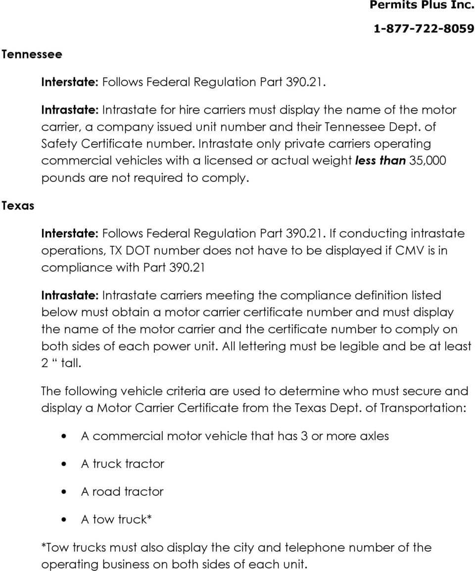 If conducting intrastate operations, TX DOT number does not have to be displayed if CMV is in compliance with Part 390.