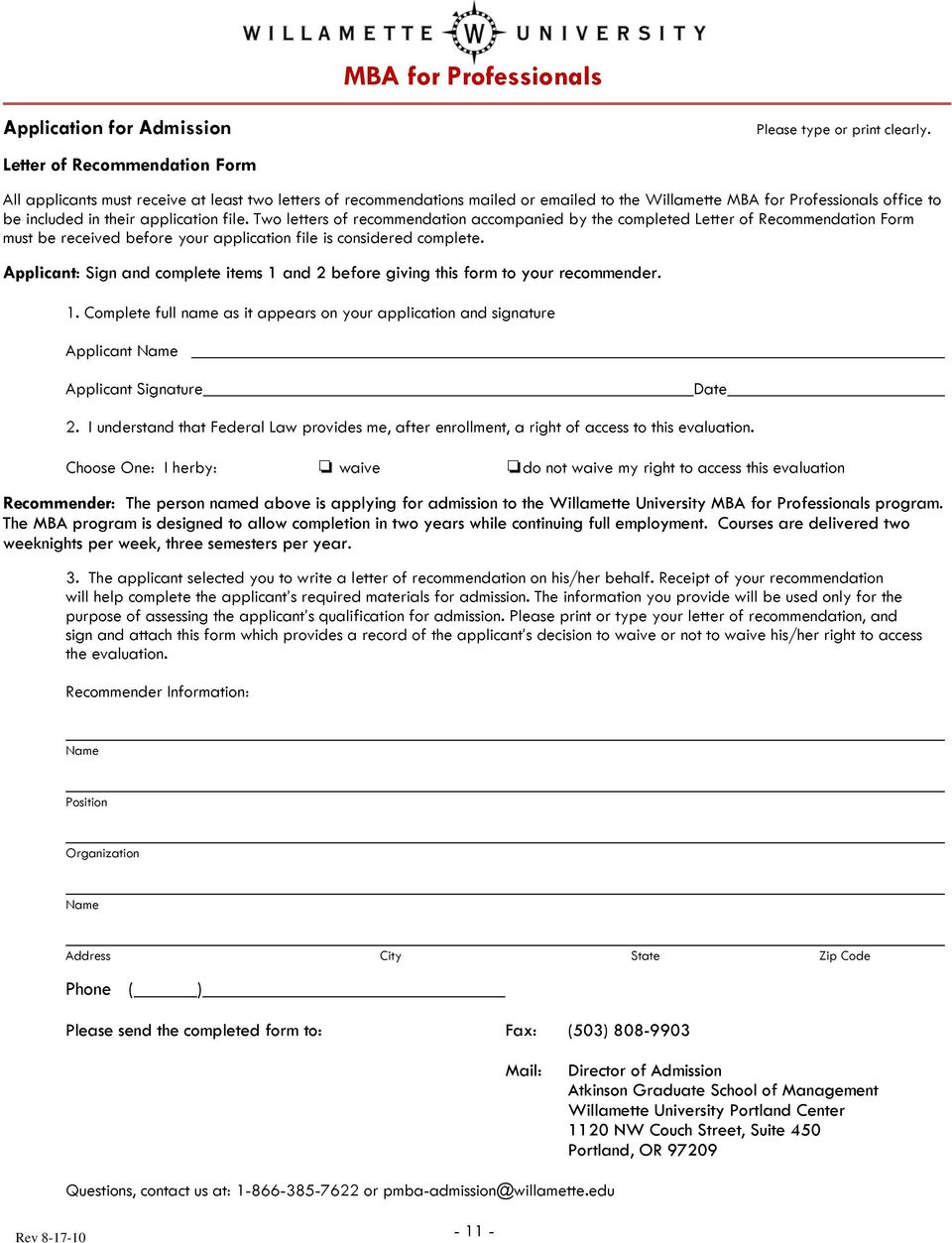 Applicant: Sign and complete items 1 and 2 before giving this form to your recommender. 1. Complete full name as it appears on your application and signature Applicant Name Applicant Signature Date 2.