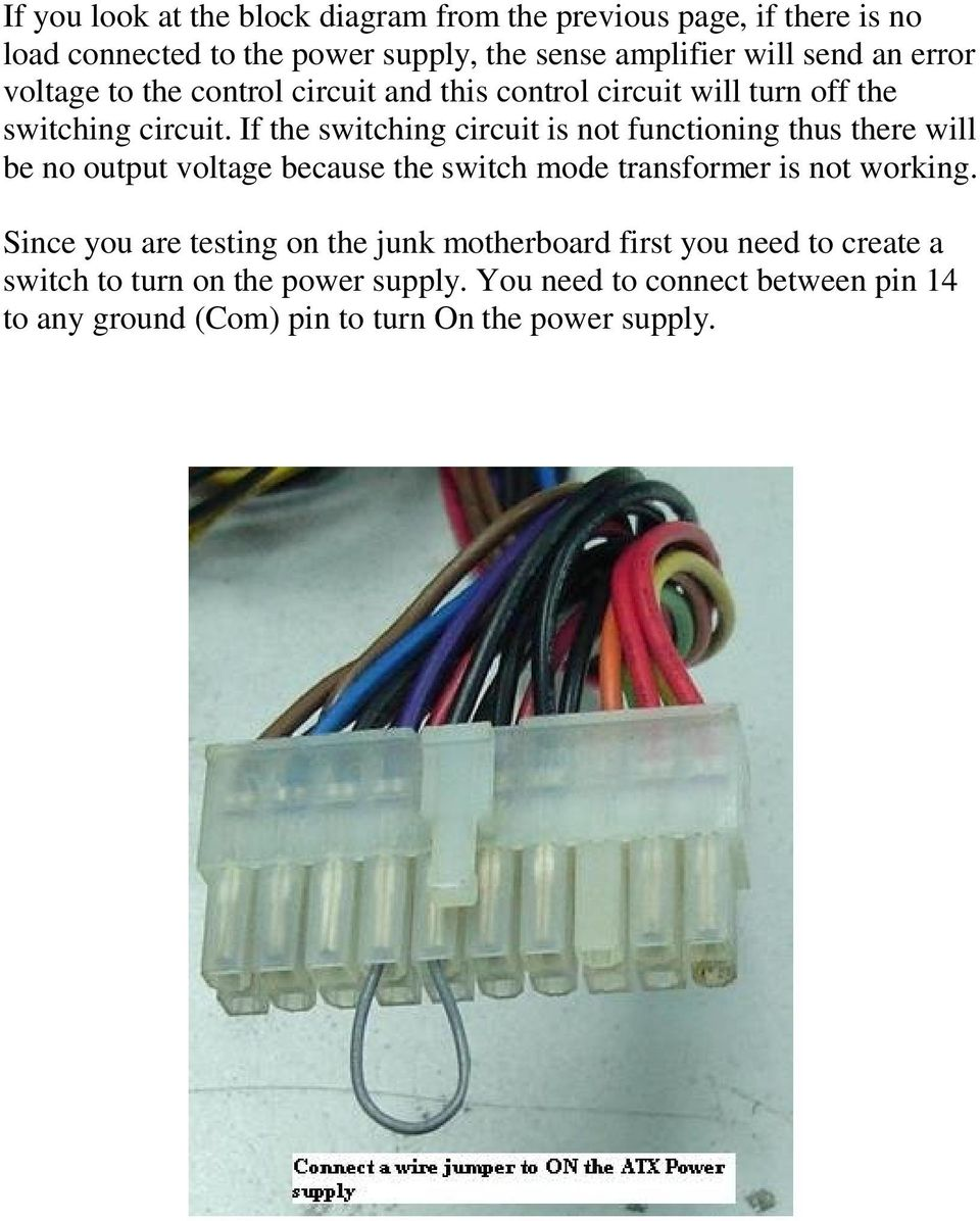 If the switching circuit is not functioning thus there will be no output voltage because the switch mode transformer is not working.
