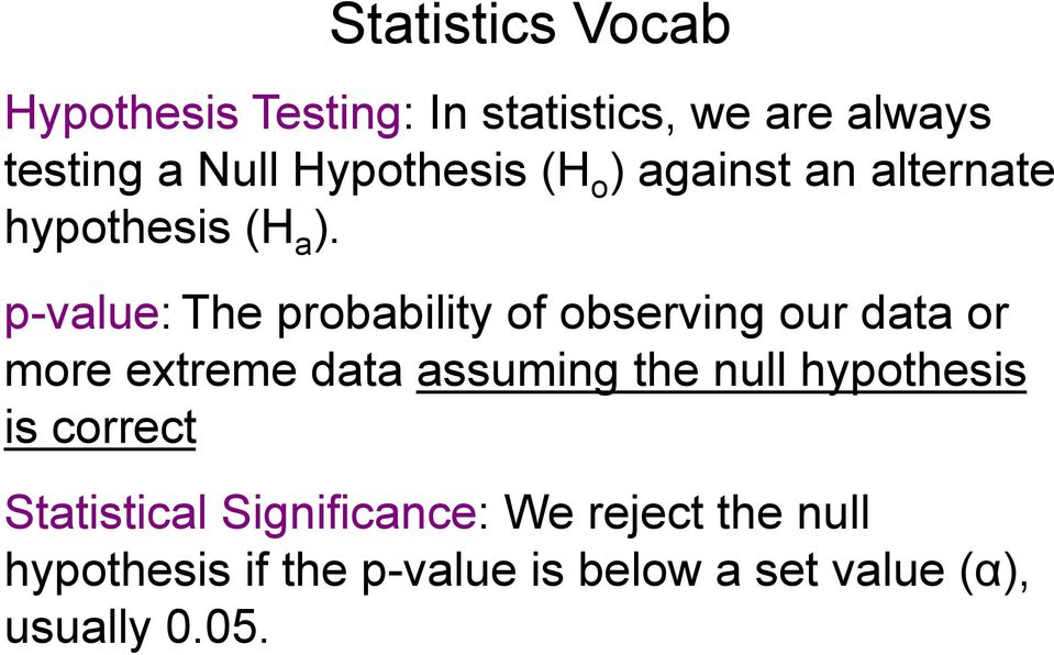 p-value: The probability of observing our data or more extreme data assuming the null
