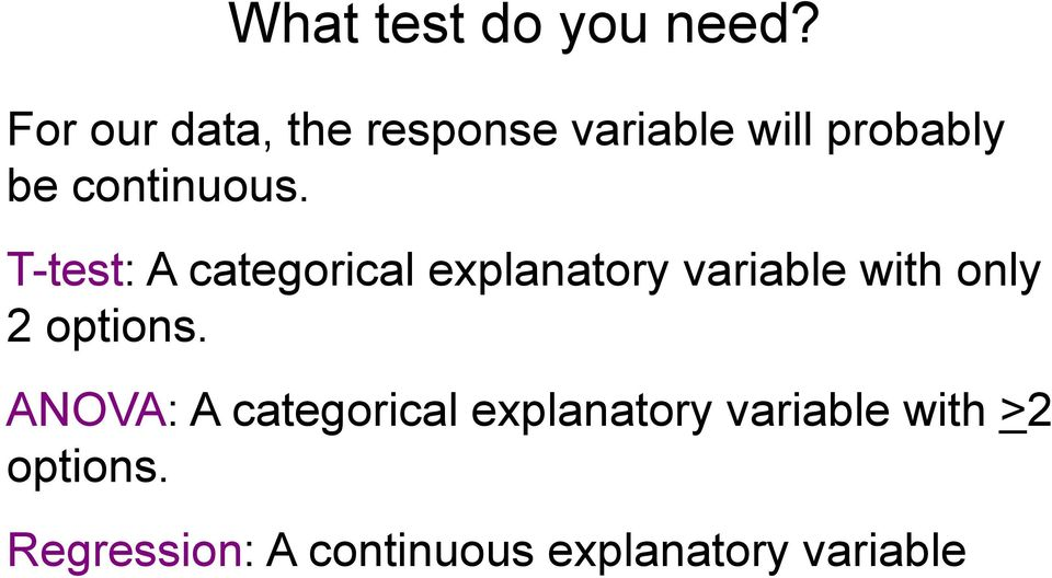 T-test: A categorical explanatory variable with only 2 options.