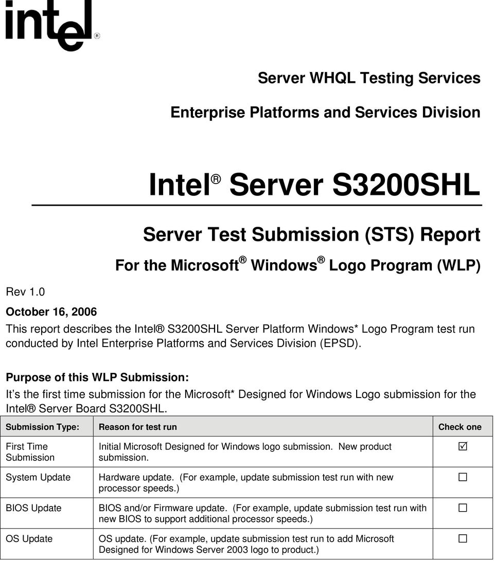 Purpose of this WLP Submission: It s the first time submission for the Microsoft* Designed for Windows Logo submission for the Intel Server Board S3200SHL.