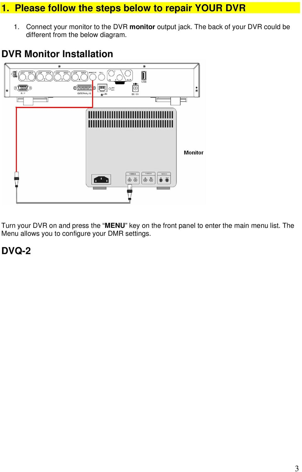 The back of your DVR could be different from the below diagram.