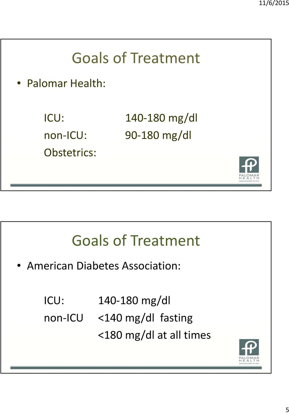Treatment American Diabetes Association: ICU: non