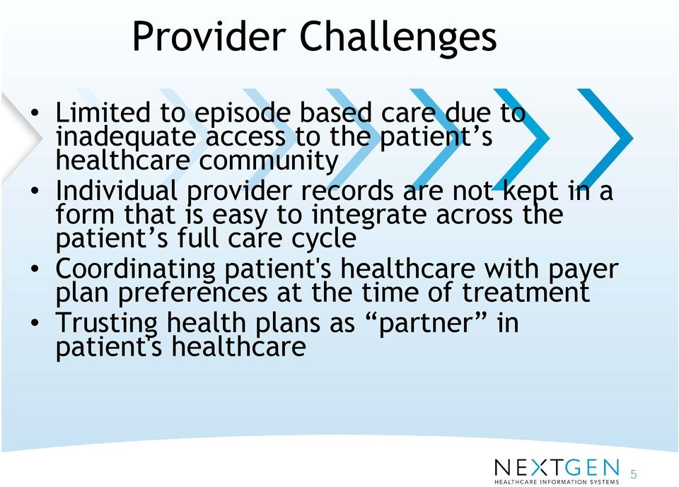 integrate across the patient s full care cycle Coordinating patient's healthcare with payer